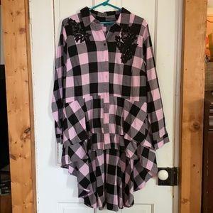 Lane Bryant pink and black plaid flannel shirt